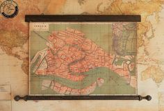 City plan of Venice in 1866 Italy Canvas antique wooden by Zmaps