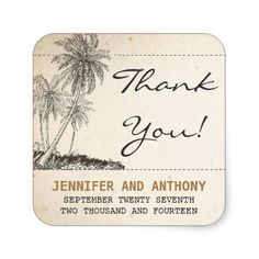 beach palms wedding thank you stickers
