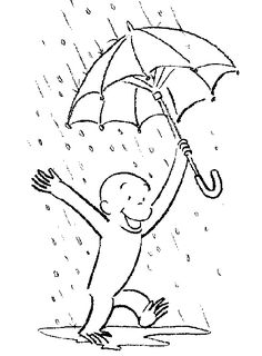 Curious George Coloring Pages Also Used In The DIY Kite Invite