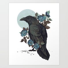 Buy Raven Art Print by coupleofkooks. Worldwide shipping available at Society6.com. Just one of millions of high quality products available.