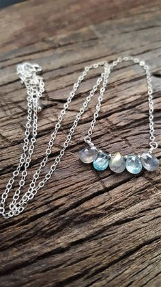 Blue Zircon And Labradorite Necklace Sterling Silver Gemstone
