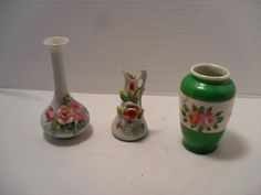 Occupied Japan MINIATURE VASES lot of 3 Mini Flower Bud Glass Porcelain - Instant Collection by TheBunnyHutch on Etsy