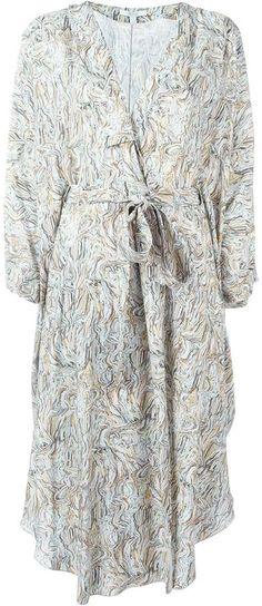 Dagmar printed wrap kimono dress