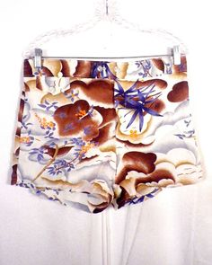 2671842a641ac vtg 60s men's Retro Painted Rayon Tropical Theme Swim Trunks rockabilly mod  L Boho Shorts,