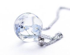 Real Forget-me-not Flowers Necklace - blue Forget me not flowers - gift as reminder - suitable gift for teacher
