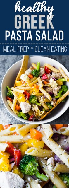 Healthy Greek chicken pasta salad recipe- whether you're heading for a picnic, a potluck, or meal prepping your lunches ahead, this salad is perfect for you! Tastes even better after the flavors marinate together for a day or two. #sweetpeasandsaffron #mealprep #pasta #salad #cleaneating