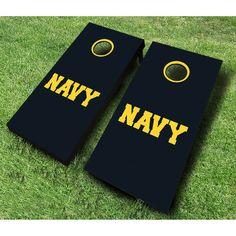 AJJ Cornhole US Navy Text Cornhole Set - 107-NAVY TEXT RED/ROYAL