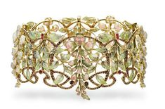 Art Nouveau multi-gem and enamel Glycines tour-de-cou by Philippe Wolfers, Bijoux Art Nouveau, Art Nouveau Jewelry, Jewelry Art, Fine Jewelry, Jewelry Design, Jewellery, Gold Jewelry, Crystal Jewelry, Enamel Jewelry