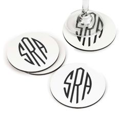 This classic coaster set is perfect for bridesmaids' and groomsmen's gifts! White coasters have cork backings and are personalized with a modern Art Deco monogram. Modern Coasters, Modern Placemats, Kitchen Jars, Kitchen Tools, Kitchen Gadgets, Kitchen Ideas, Kitchen Decor, Kitchen Design, Womens Fashion Online