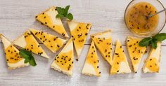Cheesecake with Granadilla Sauce recipe. This old South African cheesecake recipe is sweet, delicious and is no bake. Passion fruit cheesecakes are always a popular dessert idea.(Low Carb No Baking Cheesecake) Fridge Cheesecake Recipe, No Bake Chocolate Cheesecake, Lemon Cheesecake Recipes, Banana Cheesecake, No Bake Cheesecake, Tart Recipes, Easy Cake Recipes, Fruit Recipes, Dessert Recipes