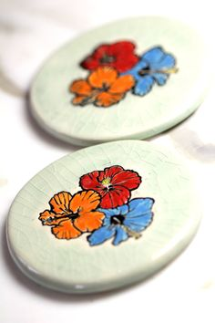 Hibiscus Flowers Ceramic Coaster Set with TWO Coasters in by surly, $48.00
