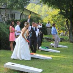 """Outdoor wedding game.  I have a """"cornhole toss"""" set if you like this idea!"""