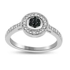 Black & White Natural Diamond Sterling Promise Ring Sizes (5-10) MSRP New $1200