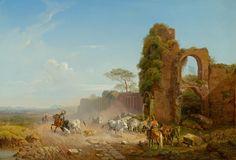 HEINRICH BÜRKEL (Pirmasens 1802-1869 Munich) Mediterranean landscape with herdsmen and herd. 1841. Oil on canvas. Signed and dated: H Bürkel 1841. 60.4x85.8 cm. Sold for CHF 57 600