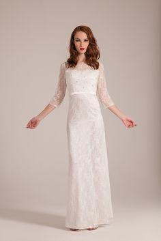 Robe de mariee droite avec manches