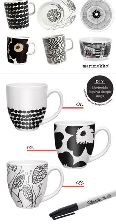 Maiko Nagao: DIY: Marimekko inspired sharpie mugs, must try this. 30 minutes ba… Maiko Nagao: DIY: Marimekko inspired sharpie mugs, Sharpie Projects, Sharpie Crafts, Sharpie Art, Diy Projects To Try, Craft Projects, Sharpies, Sharpie Doodles, Sharpie Mug Designs, Diy Mug Designs