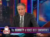 """The Daily Show's Jon Stewart explains why he's """"obsessed"""" with Sean Hannity, in much the same way he's obsessed with anti-biotic super bugs or the Pacific garbage patch. April 23, 2014"""