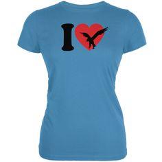I Heart Love Golden Eagle Eagles Aqua Juniors Soft T-Shirt | AnimalWorld.com