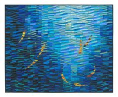 A richly textured fiber wall creation, with golden impressionistic koi swimming languidly beneath blue waves of iridescent silk. Koi Wave by Tim Harding: Fiber Wall Art available at www.artfulhome.com