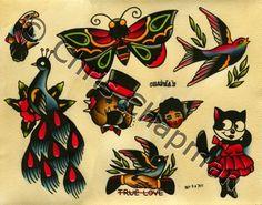 Peacocks n Butterflies n Shakers Tattoo Flash by Milkytoast