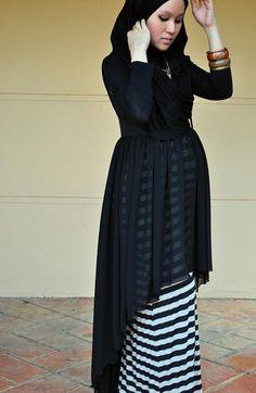 Hi-lo modest inspo - nudiemuse: street-hijab-fashion: Adriani Gorgeous. Islamic Fashion, Muslim Fashion, Modest Fashion, Maternity Wear, Maternity Dresses, Maternity Fashion, Casual Maternity, Eid Outfits, Street Hijab Fashion
