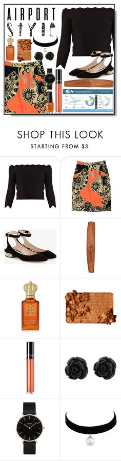 """""""Let's Travel the World"""" by ktree5 ❤ liked on Polyvore featuring Alexander McQueen, TIBI, Nicholas Kirkwood, Rimmel, Clive Christian, Too Faced Cosmetics, Lancôme and CLUSE"""