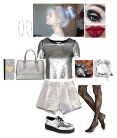 """""""Daily Themed Outfit #9: Silver Sunday"""" by nikkie-fen ❤ liked on Polyvore featuring Balenciaga, NLY Trend, Express, Underground, Tools of the Trade, ZALORA, Furla, CellPowerCases and Accessorize"""