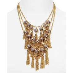 """Dylan Gray 3-Row Fringe Impact Necklace, 14"""" (7,305 INR) ❤ liked on Polyvore featuring jewelry, necklaces, grey, fringe necklace, tassel jewelry, bib statement necklace, grey necklace and boho necklace"""