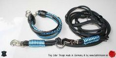 Hundehalsband und Leine im Set für kleine Hunde. Carbon Anthrazit Türkis