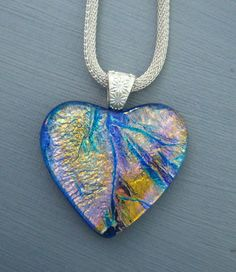 Fused Glass Heart Dichroic Fused Glass Heart Pendant by GlassCat, $30.00