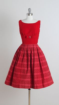 ➳ vintage 1950s dress * red cotton & velvet * acetate lining * bodice bow tie with rhinestone accents * eyelet designed skirt * metal side