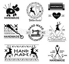 Set of vintage hand made and tailor logo, labels, emblems and. Tailor Logo, Hand Photo, Animal Magic, Clips, Craft Business, Free Vector Art, Royalty Free Photos, Logo Design, Pictures