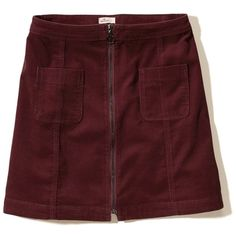 Hollister Front-Zip Corduroy A-Line Skirt (37 CAD) ❤ liked on Polyvore featuring skirts, hollister, burgundy, burgundy skirt, front zipper skirt, front zip skirt, red corduroy skirt and knee length a line skirt