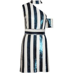 Kalmanovich Asymmetric Sequin Striped Dress ($1,125) ❤ liked on Polyvore featuring dresses, asymmetrical cocktail dress, sequin dress, white one shoulder dress, striped dress and mini dress
