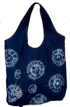 Indigo dyed shibori market tote bag by chelseacraft on Etsy, $40.00