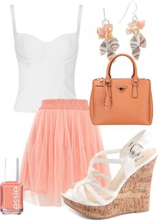 Coral pink summer outfit