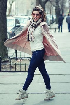 Emilee Anne wearing Marc by Marc Jacobs Pink Jacket and Isabel Marant Sneaker Wedges