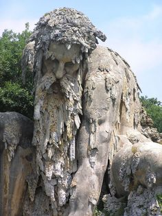 """""""This epic 'colossus' sculpture was erected in the late by renowned Italian sculptor Giambologna as a symbol of Italy's rugged Appenine mountains. This mountain god, named Appennino, stands 35 feet tall within the Villa Demidoff in Tuscany"""" Places To Travel, Places To See, Visit Italy, Florence Italy, Amazing Nature, Italy Travel, Wonders Of The World, Beautiful Places, Scenery"""
