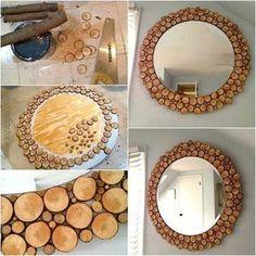DIY mirror - New Kitchen Decoration Craft Room Decor, Diy Crafts For Home Decor, Handmade Home Decor, Diy Wall Decor, Home Decor Items, Home Decor Accessories, Diy Bedroom Decor, Diy Barbie Furniture, Diy Holz