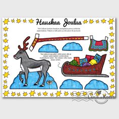 Tästä Poro-joulukortista syntyy toimiva Poro-paperinukke, jonka kanssa leikkiessä joulu tulee kuin leikiten :)