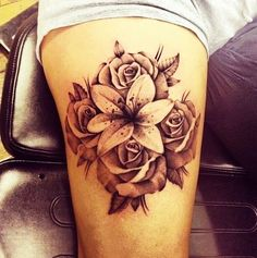 Image result for red rose and pink oriental lily tattoo