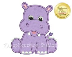 Machine Applique Embroidery Design: This little hippo is one in a series of matching baby animals. It makes a great single design check out the others for a great theme! Sizes included: (sizes rounded for easy reference) hoop - stitches hoop - Applique Design, Applique Embroidery Designs, Machine Embroidery Applique, Cute Hippo, Baby Hippo, Jungle Animals, Baby Animals, Cute Animals, Wild Animals