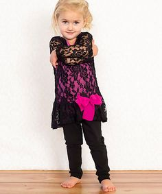 This Black & Hot Pink Peplum Lace Tunic - Toddler & Girls by Monkey Mae is perfect! Lace Tunic, Ruffle Blouse, Baby Couture, I Dress, My Girl, That Look, Peplum, Girly Girls, Toddler Girls