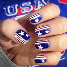 Still feeling pretty patriotic from that #USA game yesterday! These nails are helping too ⚽ #nails #nailpolish #nailart #instanails #usanails #teamusa #worldcupnails #worldcup2014