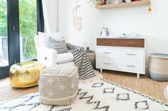 Christina & Ant Anstead's New Home | Christina on the Coast | HGTV Bamboo Roof, Wood Plank Ceiling, Coastal Living, Coastal Style, Mid Century Modern Table, White Countertops, Modern Dresser, Metal Beds, Ship Lap Walls