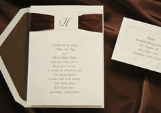 Initial Die-Cut with Mocha Ribbon Wedding Invitations - Invitation Box