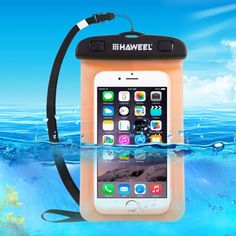 [$1.24] HAWEEL Transparent Universal Waterproof Bag with Lanyard for iPhone, Galaxy, Huawei, Xiaomi, LG, HTC and Other Smart Phones(Orange)