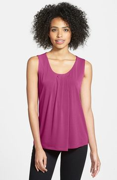 Anne Klein Sleeveless Pleat Neck Top | Nordstrom