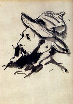 Head of a Man (Claude Monet), 1874, Edouard Manet Size: 17x14 cm Medium: pen, ink on paper
