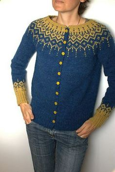 a Winter Fantasy Jacket pattern by DROPS design : Drops 116 pattern using lette lopi. Fair Isle Knitting Patterns, Fair Isle Pattern, Knit Patterns, Pull Jacquard, Icelandic Sweaters, How To Purl Knit, Jacket Pattern, Cardigan Pattern, Drops Design